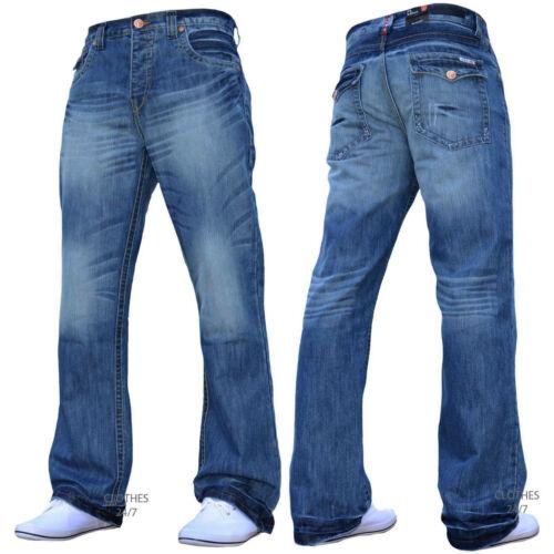 Nuovi Uomini Svasati Svasato Gamba Larga Azzurro Denim Jeans Tutte Vita /& Taglia