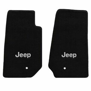 jeep wrangler 2 pc all weather carpet floor mats silver jeep logo 2007 2013 ebay. Black Bedroom Furniture Sets. Home Design Ideas