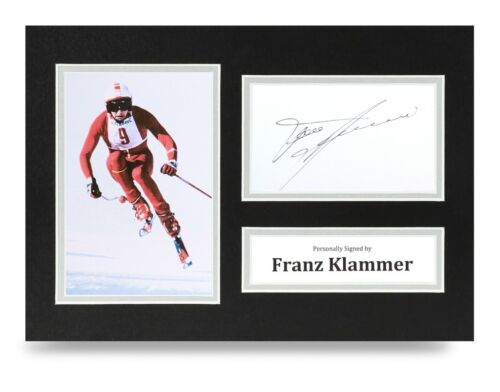 COA Franz Klammer Signed A4 Photo Display Olympic Skier Autograph Memorabilia