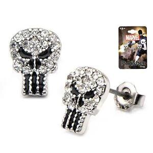 Marvel-Punisher-Skull-Logo-Gem-Covered-Stud-Earrings-Licensed-Merchandise
