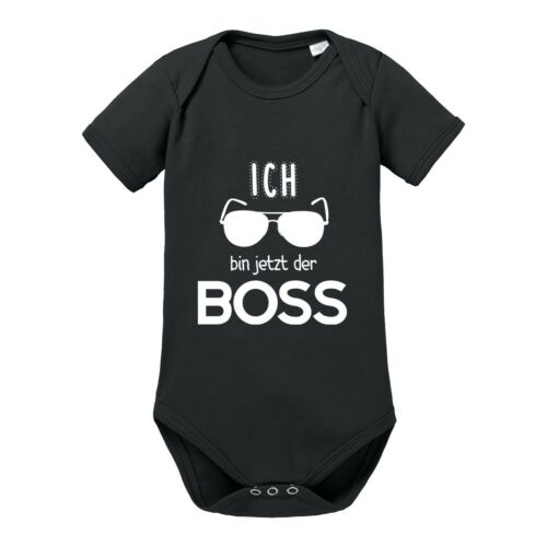"""/""""Ich bin jetzt der BOSS/"""" 100/% Baumwolle NEU Babybody Modell Kinder"""