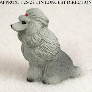 Poodle-Mini-Resin-Dog-Figurine-Statue-Hand-Painted-Gray