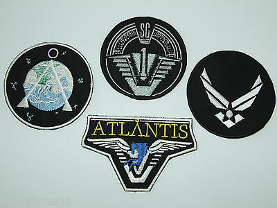 STARGATE ATALANTIS SG1 SET OF 4- Main Team Jacket Patches - SG-1, Chevron & USAF