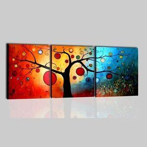 Quadri moderni astratti con albero dipinti a mano rosso for Quadri trittici moderni