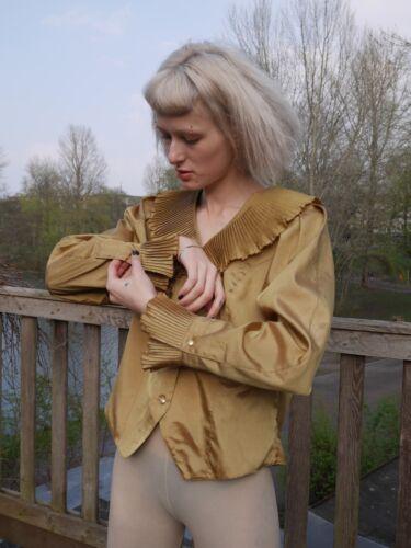 Bluse Bronze M 70s Vintage Blouse Metallic Stil 70er True Wie Shirt 30er Plissee r4r5qUwx