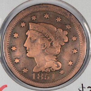 1851-Braided-Hair-Cent-Fine-Condition