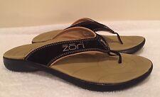 Neat Feat Zori Sport Orthotic Black/Tan Suede Flip Flops Slides Sandals~ Sz 8