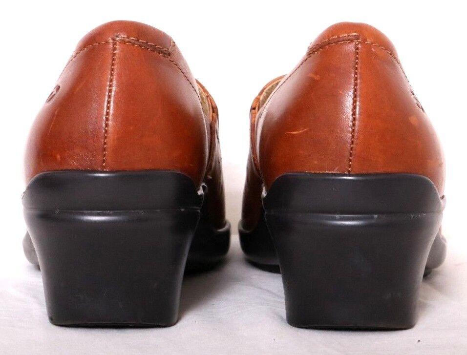 Aravon Light Brown Leather Vine Laser Cutout Slip-On 7D Work Clogs Women's US 7D Slip-On dd9ee6