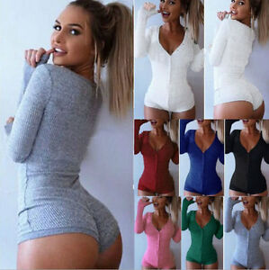 dafd839c0713 New Women V Neck Long Sleeve Bodycon Bandage Bodysuit Jumpsuit Slim ...