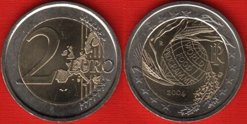 "Italy 2 euro 2004 /""World Food Programme/"" BiMetallic UNC"