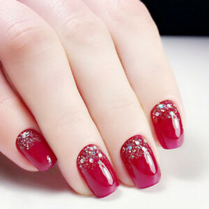 Christmas Red Short Fake Nails Glitter 24pcs Acrylic Full Cover