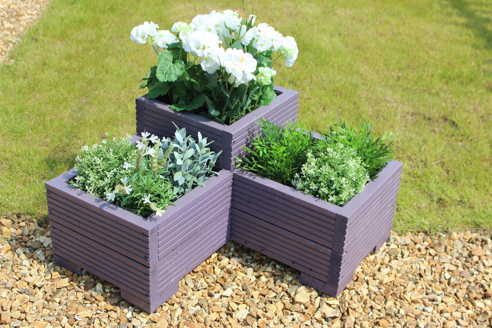 Purple 3 Tier Corner Planter Painted Wooden Garden Troughs or Plant Pots