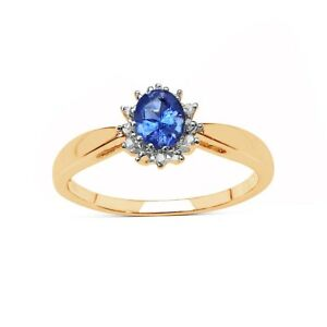 9-CT-GOLD-TANZANITA-amp-Diamond-Cluster-anillo-de-compromiso-Tamano-jklmnopqrst