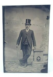 Antique-Victorian-Tintype-Photograph-Man-Painted-Blush-Top-Hat-amp-Cane-Mustache