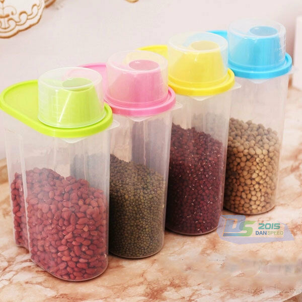 Clear Cereal Storage Box Store Dry Food Pasta Rice Flour Container W/ Lid Size L