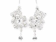 18k White Gold Plated Crystal Rhinestone Element Dangle Teddy Bear Earrings 3D