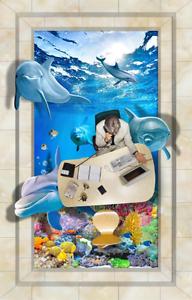 3D Friendly Dolphin 842 Floor Wall Paper Murals Wall Print AJ WALLPAPER UK Lemo