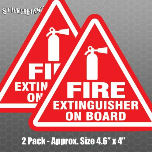 Safety Warning Vinyl Decal #FE018 Fire Extinguisher On Board 2 pack Stickers