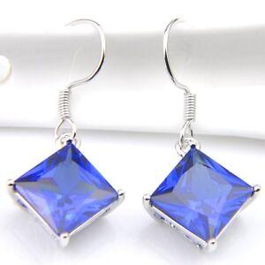 Fashion-Jewelry-Gift-Square-Cut-Blue-Topaz-Gemstone-Silver-Dangle-Hook-Earrings