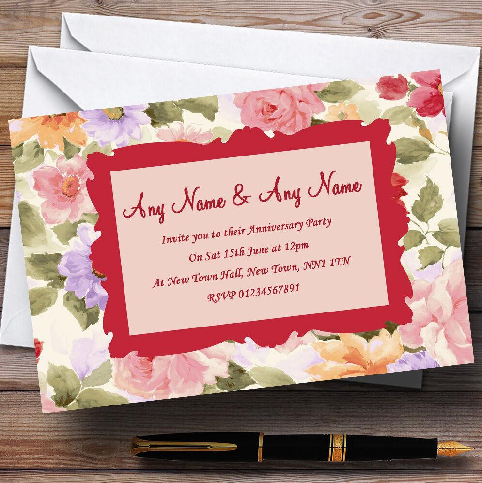 Vintage Vintage Vintage Floral Stunning Tea Wedding Anniversary Party Personalised Invitations 83b1b9