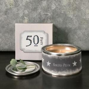 Image Is Loading 50th Birthday Gift Wishes Tin Candle In
