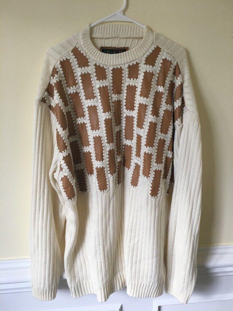 Bagazio USA Mens Sweater Faux Leather Size 3XL Pattern