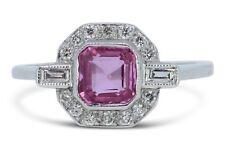 Art Deco Rosa Zafiro Y Diamantes Anillo De Platino Cluster 0.40ct + 1.0ct