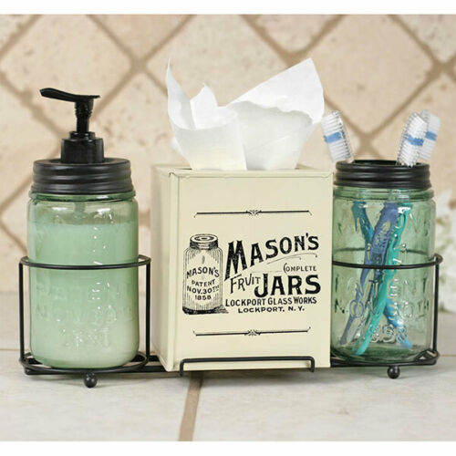 Country Rustic Mason Jar Bathroom Caddy With Mason Jars And Tissue Box Cover