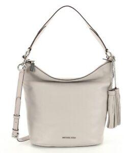 NWT-MICHAEL-Michael-Kors-Elana-Gray-Leather-Convertible-Shoulder-Bag-New-378