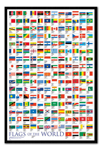 Framed Flags Of The World Large Poster New