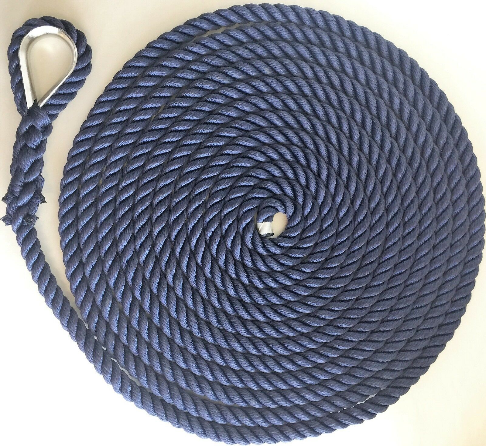 8mm.-28mm.Polyester 3 Strand Mooring Line Anchor Rope Stainless Thimble Spliced