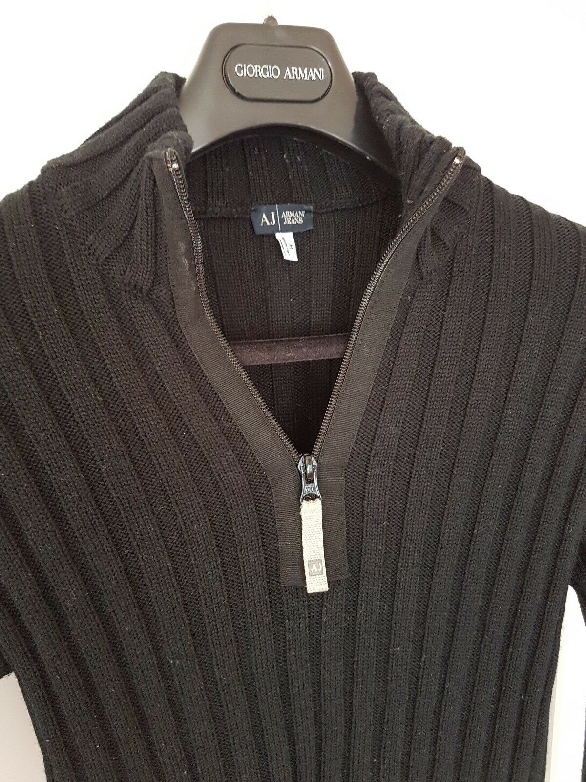 Mens ARMANI JEANS lambswool mix 1 4 Zip Jumper Sweater Größe med small.