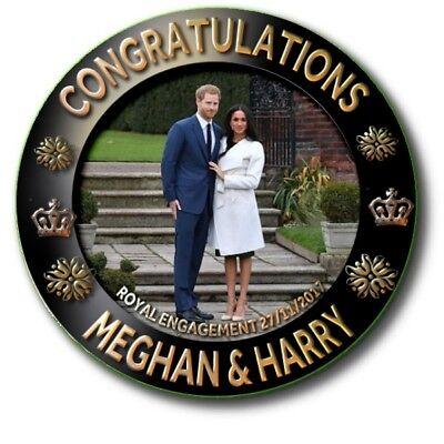 MEGHAN MARKLE~ PRINCE HARRY~ROYAL WEDDING SOUVENIR BUTTON BADGE ~ LARGE 55 mm