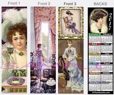 3-Set-VICTORIAN 2017 CALENDAR Tea Party Bookmark Vintage ART Style CARD Hat Lace