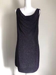 Armani-Exchange-Large-Dress-Black-Cowl-Drapy-Neck-Purple-Metallic-Detail-G35