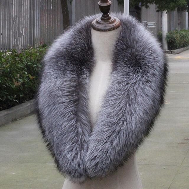 """100cm/39""""inch Men&Women Real Silver Fox Fur Collar Scarf Shawl Wrap Cape"""