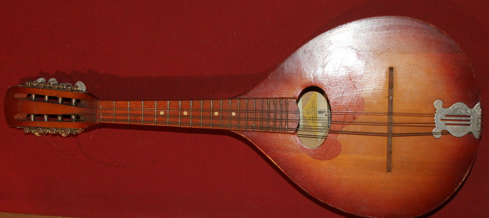 Vintage Soviet Russian Hand Made 8 String Wood Mandolin