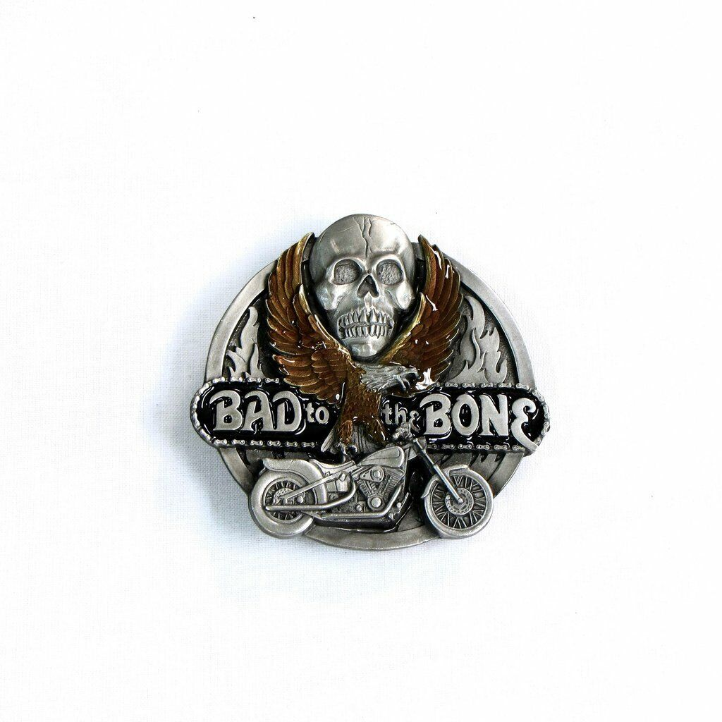 Bad to the Bone Motorcycle Belt Buckle Skull & Eagle Made in USA