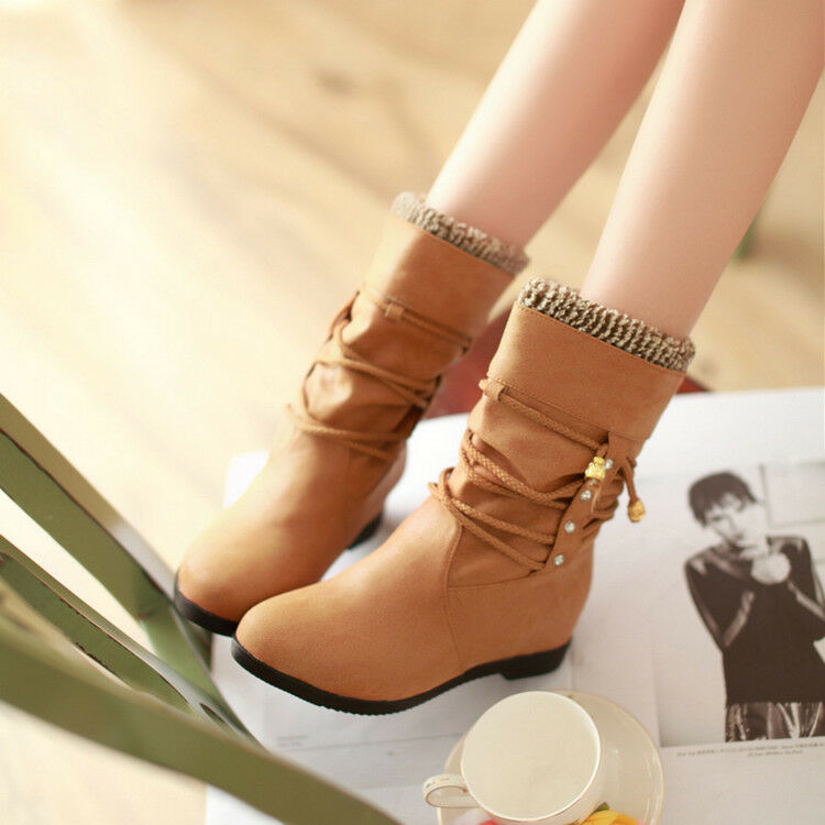 Womens Fashion Winter Kniting Strappy Round Toe Hidden Wedge Heels Ankle Boots