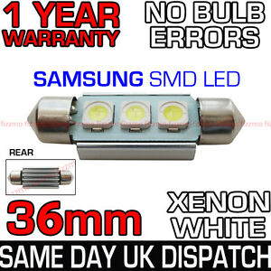 36mm-239-272-C5W-CANBUS-NO-ERROR-WHITE-NUMBER-PLATE-LIGHT-BULB-SAMSUNG-3-SMD-LED