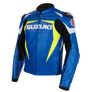 BLEU-SUZUKI-Cuir-Biker-Veste-Sports-Cuir-Veste-MOTOGP-Moto-Cuir-Veste-EU-52-58