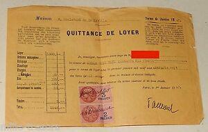QUITTANCE de LOYER & REGLEMENT du 1er Janvier 1947 + TIMBRE Fiscal