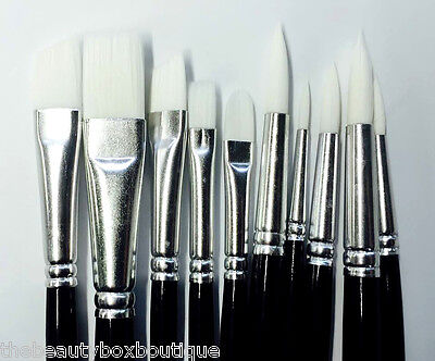10 X Face Painting Brushes -  Round And Flat Tip Art Paint Brush Glitter Quality