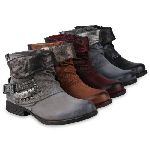 Damen Stiefeletten Biker Boots Schnallen Nieten Schuhe 818439 Mode