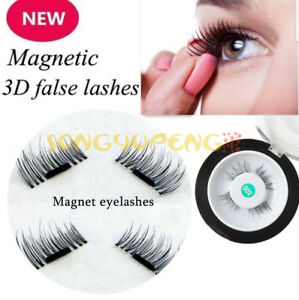d0575093347 4PCS/ 1 Set Magnetic Eyelashes 3D Reusable False Magnet Eye Lashes ...