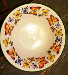 Tabletops-Unlimited-Butterfly-Garden-Coupe-Cereal-Bowl-Green-Trim