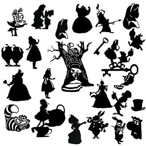 Die Cut Outs Silhouette Alice In Wonderland Shapes X 22