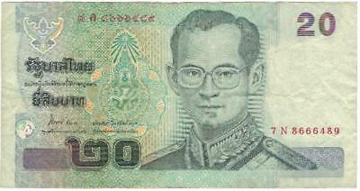Thailand P-109 20 Baht Year ND 2003 Uncirculated Banknote Asia