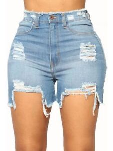 853867a6aa4 Details about Casual Summer Denim Hole Shorts Mid Waist Tassel Plus Size  Short Jeans For Women
