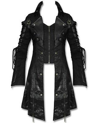 Punk Rave Poison Black Jacket Mens Faux Leather Goth Steampunk Military Coat